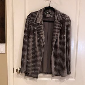 Charcoal gray and silver pin striped blazer